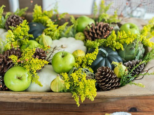 Thanksgiving Centerpiece Table Decorations - green centerpiece