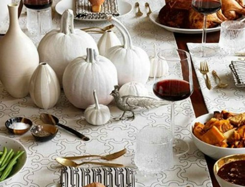 Thanksgiving Centerpiece Table Decorations - white painted pumpkin