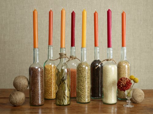 Thanksgiving Centerpiece Table Decorations - wine bottle