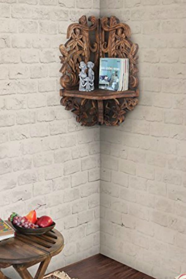 Detailed Wood Carved Corner Shelf