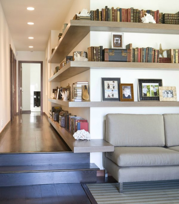 Corner Shelf Idea - Long Hallway Wooden Floating Shelf
