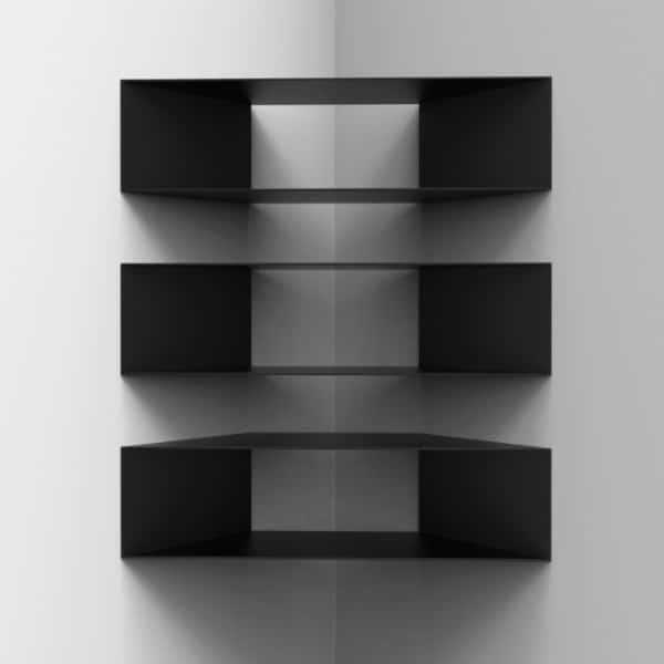 Corner Shelf Designs - Black Floating Shelves