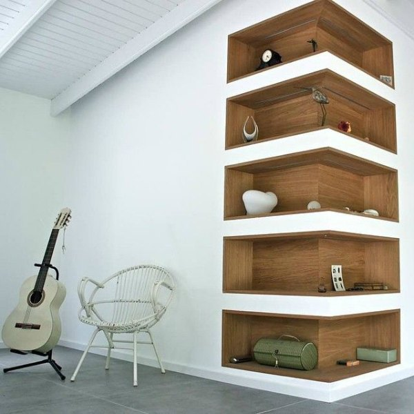 Corner Shelf Designs - Modern Inlay Corner Wall Shelf