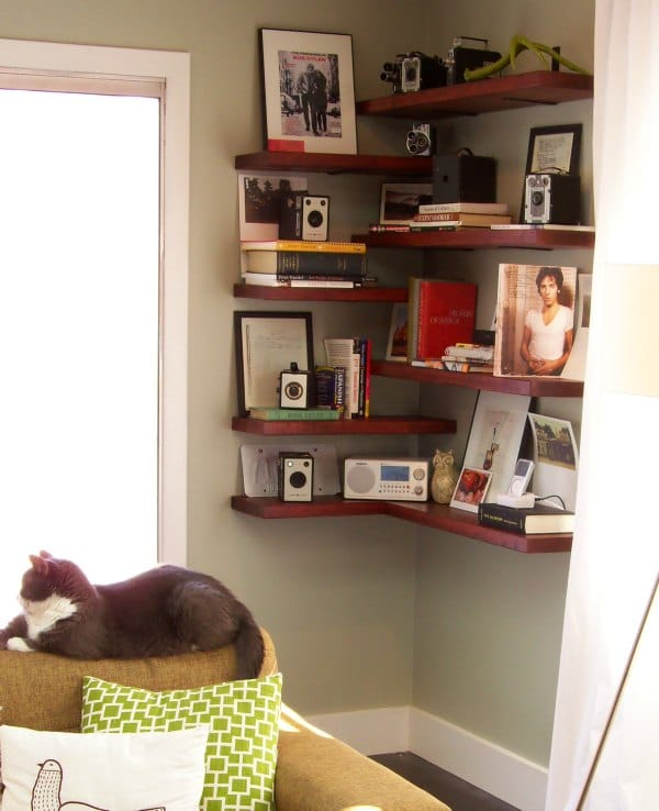 Corner Shelf Ideas - Alternating Corner Shelf Design