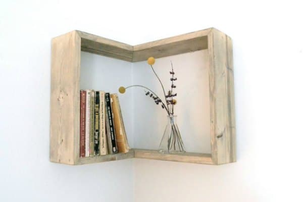 Corner Shelf Ideas - Reclaimed Wood Shelf