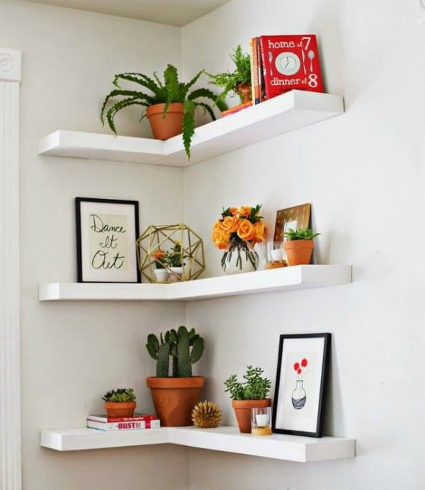 Corner Shelves - White Floating Corner Shelf