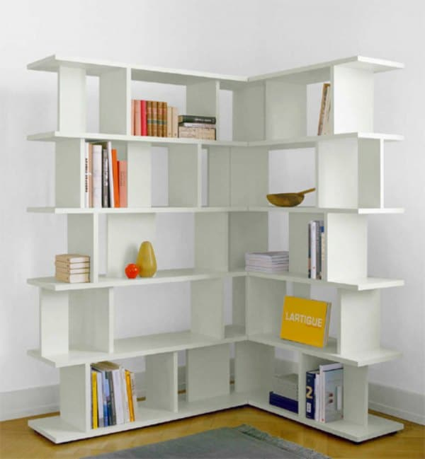 Corner Shelving Idea - White Corner Bookcase