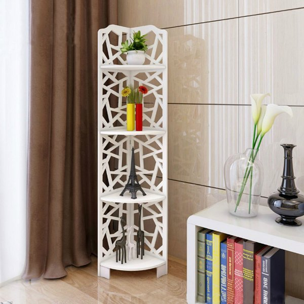 Corner Shelving Ideas - Geometric Corner Bookcase