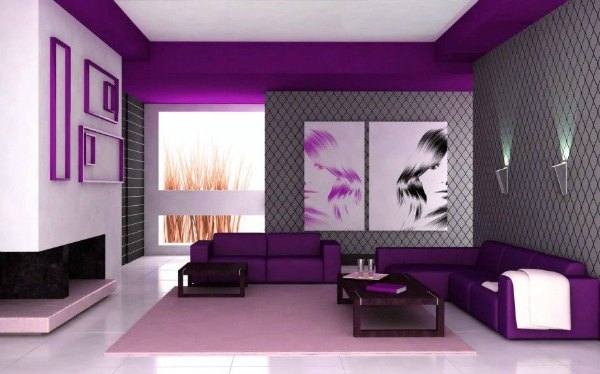 Purple Living Room - Bold Dark Purple Decor