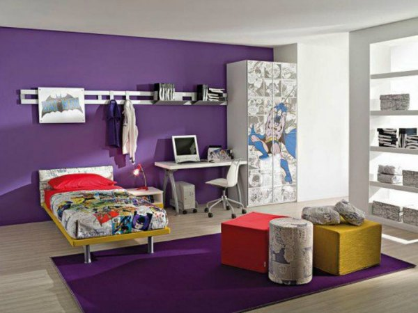 Boys Bedroom Purple Accent Wall