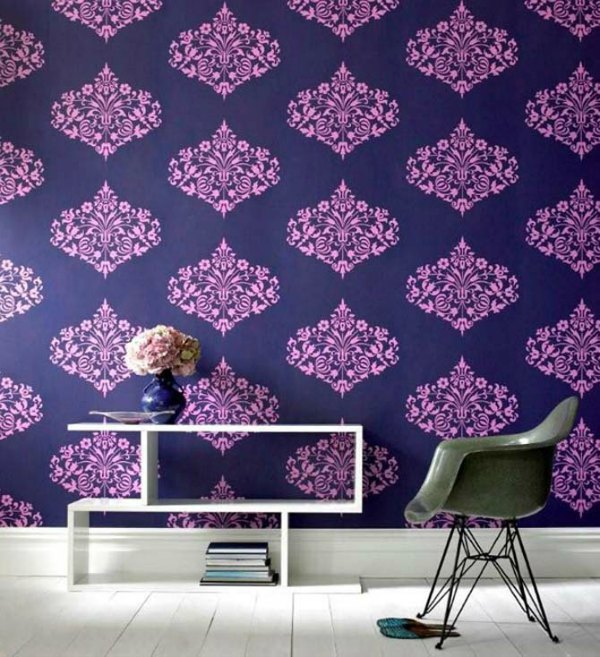 Detailed Purple Wallpaper Entry Way