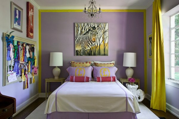 Girls Bedroom Idea - Purple Accent Wall