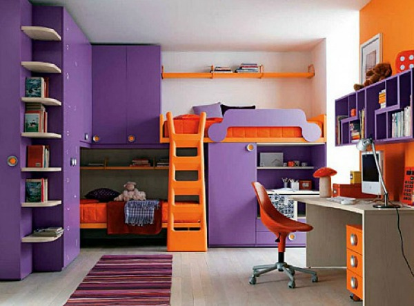 Kids Bedroom Decor - Purple and Orange Decor