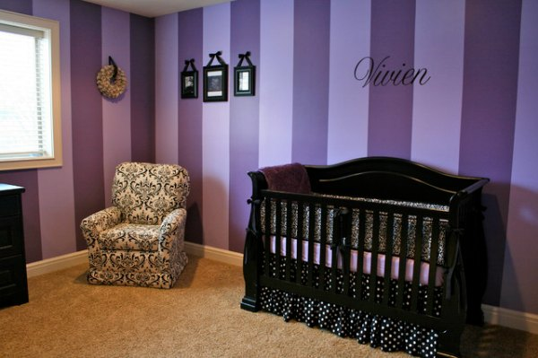 Purple Baby Room Decor - Purple Striped Wallv
