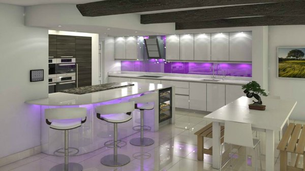 Purple Kitchen Deisgn - Purple Light Back Splash