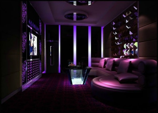 Purple Living Room - Purple Entertainment Room