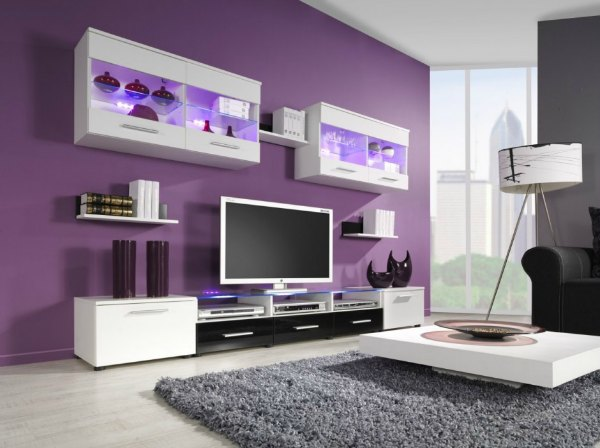 Purple and Grey Living Room- Purple Accent Wall