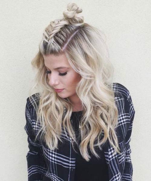 Braided Half Updo Top Knot - Women's Updo Hairstyle Ideas