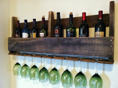 Dark Stained Pallet Wine Rack