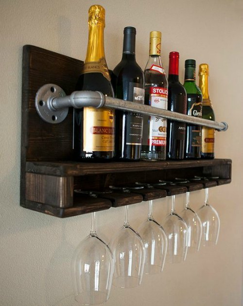 Dark Wood Pallet Wine Rack