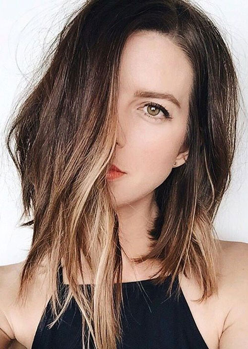 Long Bob Hair - Asymmetrical Long Bob Hairstyle