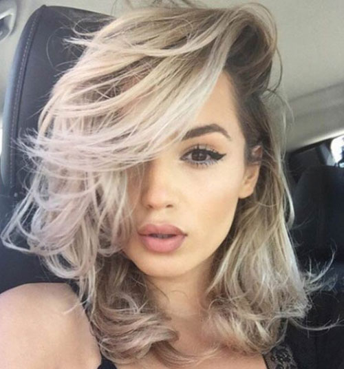 Long Bob Hair - Long Bob with Dramatic Part