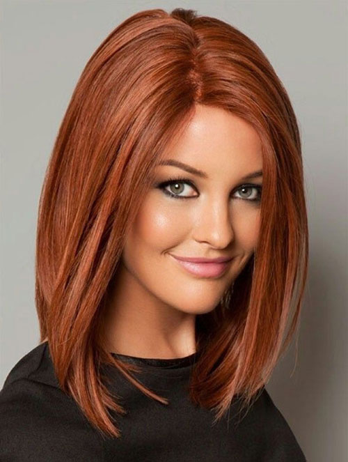 Long Bob Hair - Straight Red Long Bob