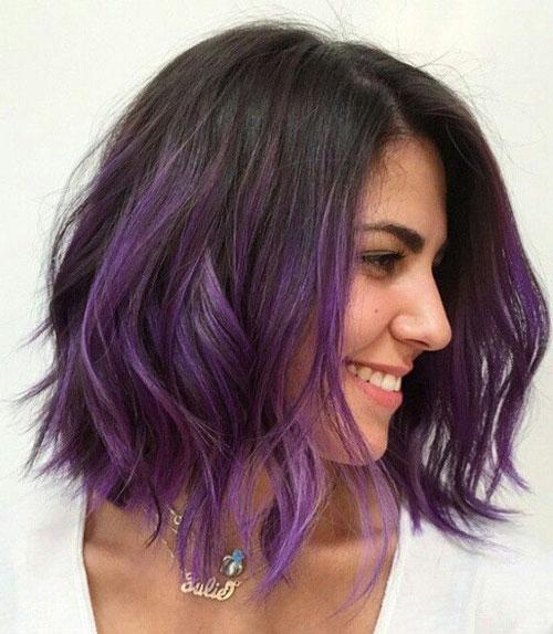 Long Bob Hairstyle - Dip Dye Purple Lob
