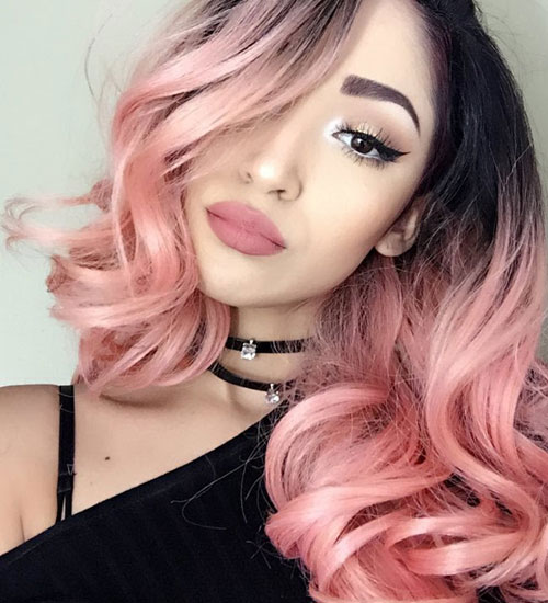 Beautiful Ombre Hair Color - Dark Hair to Light Pink Ombre