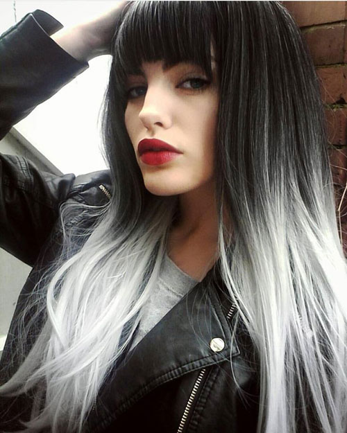 Black and Silver Ombre with Bangs