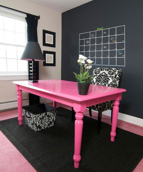 Black and White Home Office with Pink
