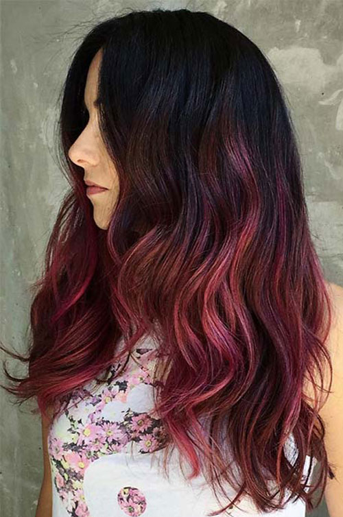 Black to Burgundy Ombre Hairstyle