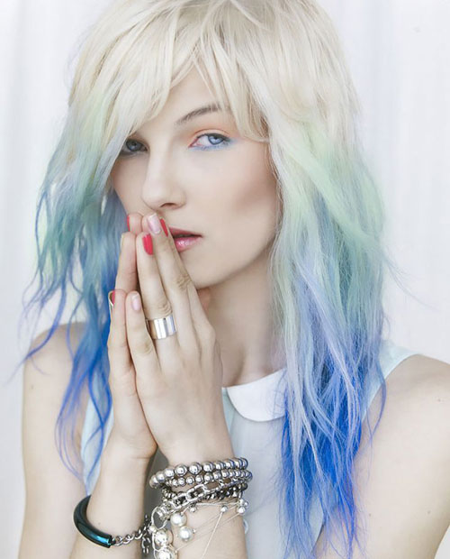 Blonde to Blue Ombre - Blue Pastel Ombre Hairstyle