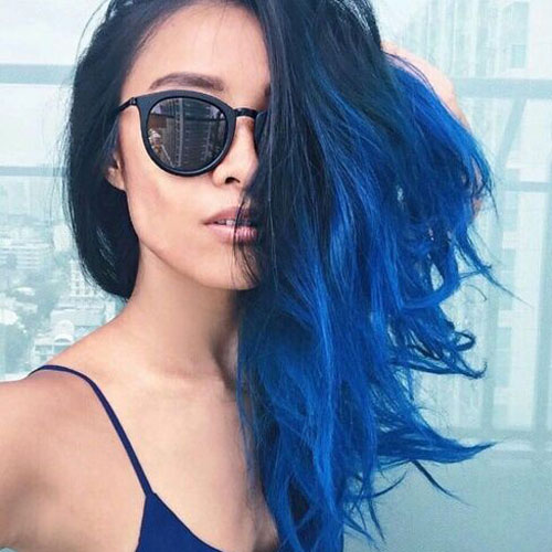 Blue Ombre Hair - Black to Blue Ombre Hair Color
