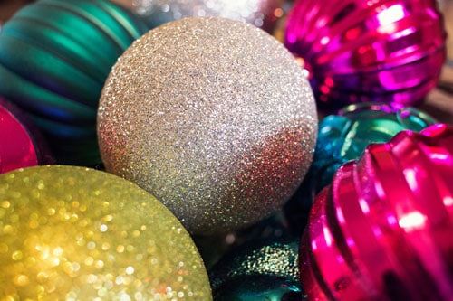 Bright Colored Christmas Ornaments