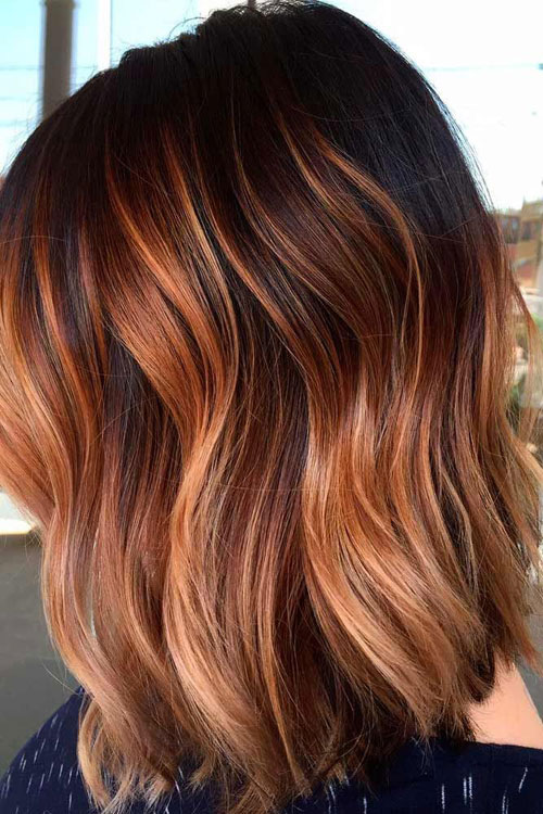 Ombre Hair Brown To Caramel Medium Hair