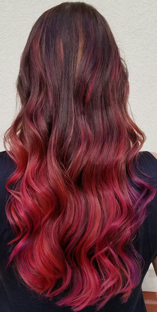 Brown Ombre Red Ombre Hair Brown to Red Ombre Color