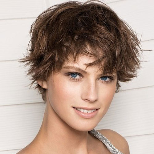 Brown Shaggy Pixie Cut