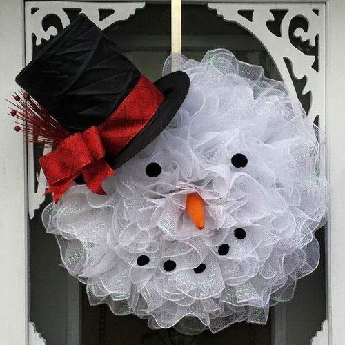 DIY Christmas Wreath - Snowman Christmas Wreath