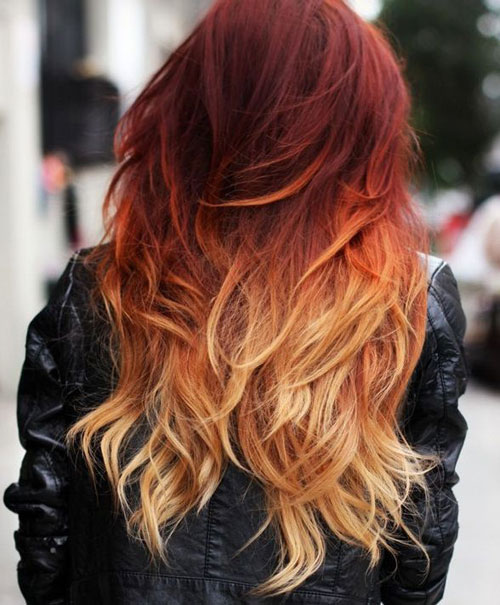 Dark Red to Blonde Ombre Hairstyle