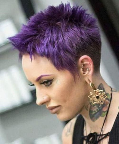 Edgy Dark Purple Spiky Pixie