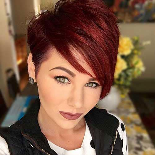 Gorgeous Dark Red Edgy Pixie Cut