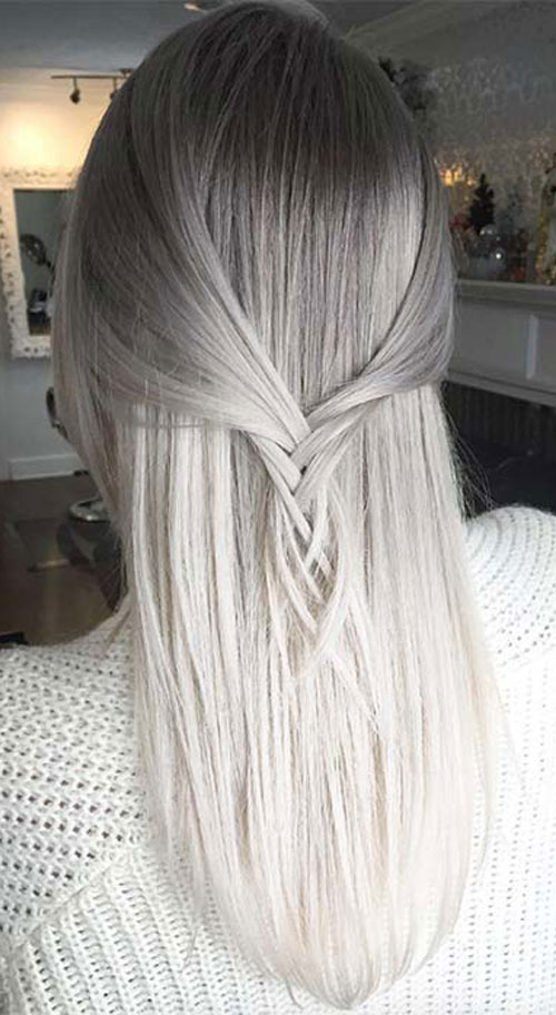 Grey Hair Ombre Grey to White Ombre Hair Color