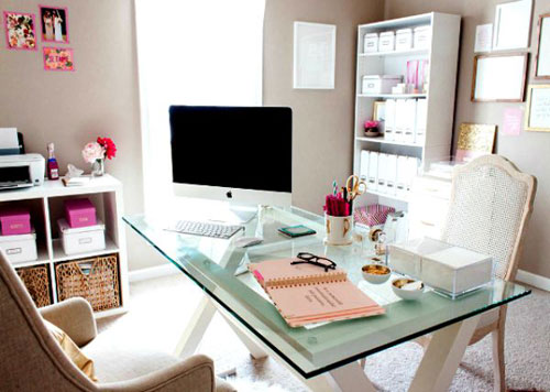 Home Office Idea - White and Pink