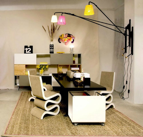 Home Office Ideas - Black Desk White Chairs