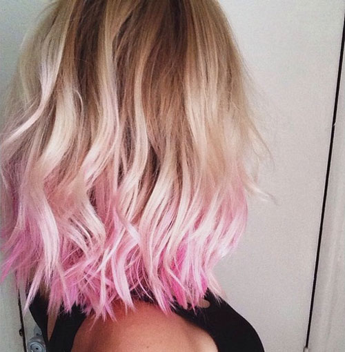 Light Pink and Blonde Ombre Hair Color