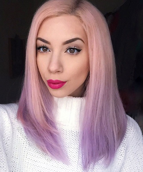 Ombre Hair Color - Pink to Purple Ombre Hair
