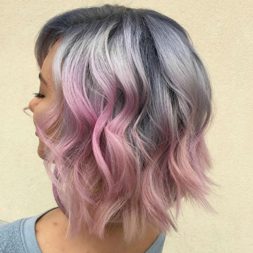 Ombre Hair Color - Silver to Pink Ombre Hair