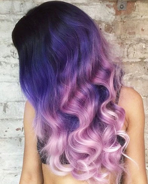 Ombre color for dark hair - Purple and Pink Ombre hair color
