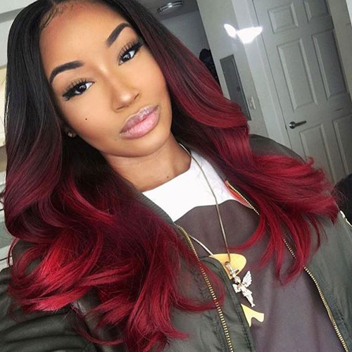 Red Ombre - Black to Red Ombre Hair Color